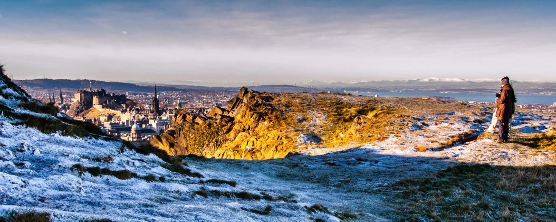 Couple on Salisbury Crags in Edinburgh